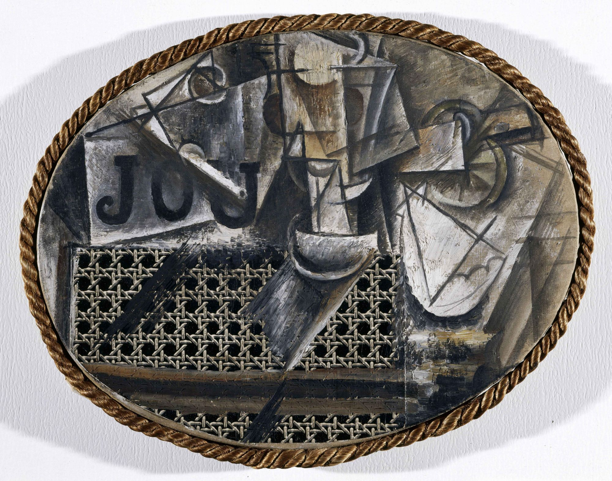 L homme la guitare panorama de l 39 art - Picasso nature morte a la chaise cannee ...