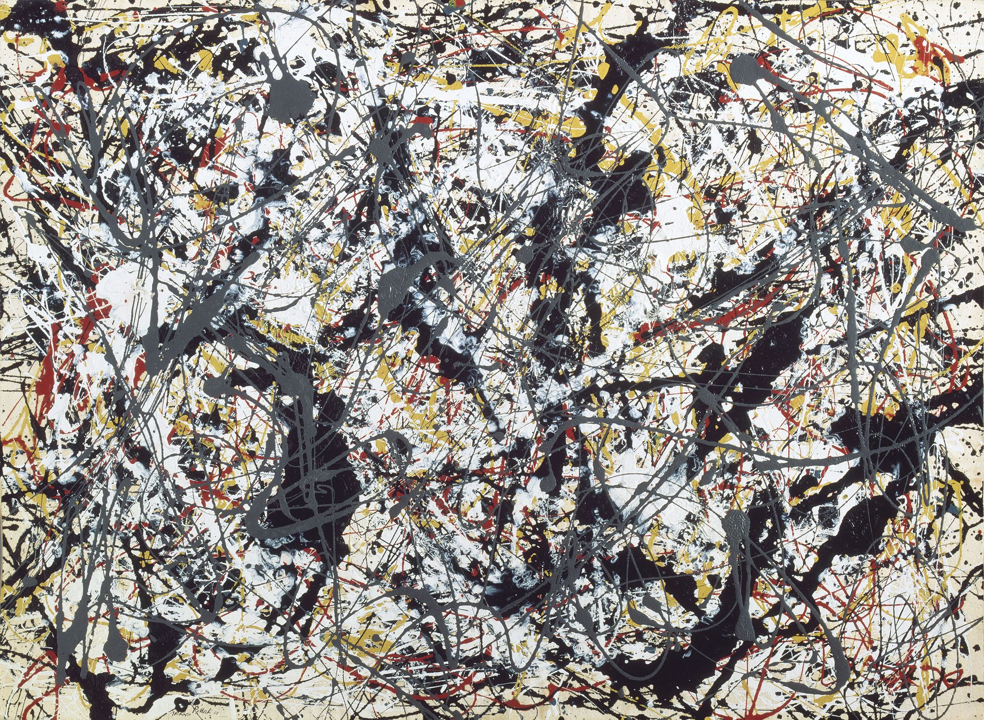peinture argent sur noir blanc jaune et rouge jackson pollock 1912 1956. Black Bedroom Furniture Sets. Home Design Ideas