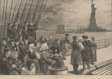 New York. – Welcome to the Land of Freedom. – An Ocean Steamer Passing the Statue of Liberty: Scene on the Steerage Deck. Gravure publiée dans Frank Leslie's Illustrated Newspaper, 2 juillet 1887, p. 324-325. 1887, gravure. États-Unis d'Amérique, Washington, Library of Congress